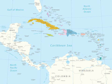 Caribbean -highly detailed map.Layers used.