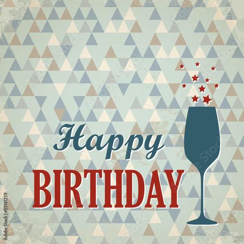Retro Triangular Happy Birthday Card With Wine Glass Stock Image