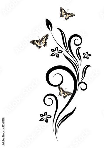 Fiori stilizzati e farfalle stock photo and royalty free for Fiori stilizzati immagini