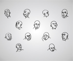 A variety of hand-drawn male faces - negative