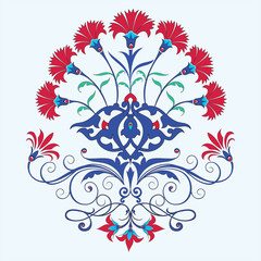 traditional ottoman carnation chine design