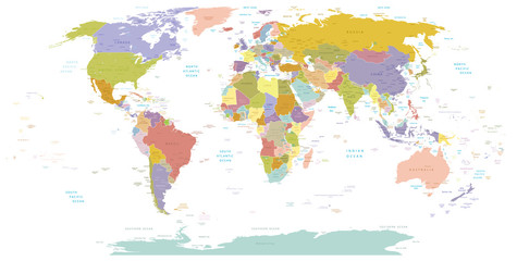 High Detail World map.Layers used.