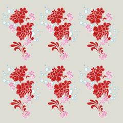 tapisserie fleurs rouges