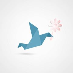 Poster Geometric animals origami bird with flower