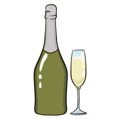 A bottle of champagne and a glass. Bubbles. vector illustration