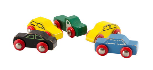 vintage colorful toy models cars objects isolated