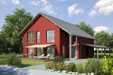 Einfamilienhaus 2 rot