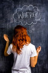 Confused redhead woman asking where