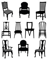 Set of silhouettes chairs-vector