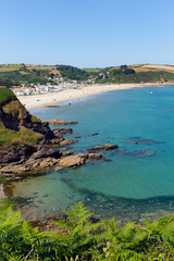 Fototapete - Pentewan Cornwall England United Kingdom beach and blue sea