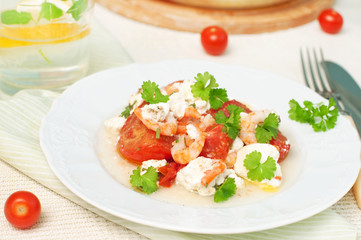 shrimps with tomatoes and cheese