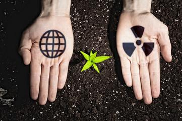 Foto op Plexiglas Bar Human hands and ecology symbols