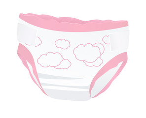Baby diapers for girl with funny picture. Vector