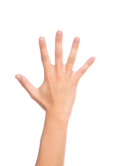 Manicured female open hand gesture number five fingers up