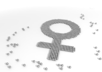 3d graphic of a female woman symbol made of tiny spheres