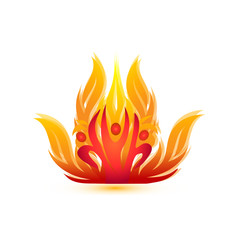 People on fire logo-rescue team firemen symbol vector