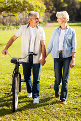 senior couple walking a bike in park holding hands