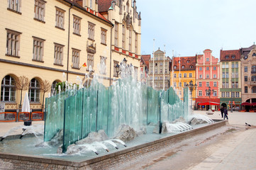 Poland, fountain on the Market square in Wroclaw