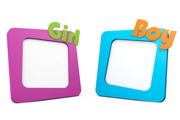 Photo Frames with Girl and Boy Signs