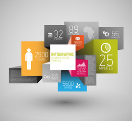 Vector abstract squares and cubes infographic template