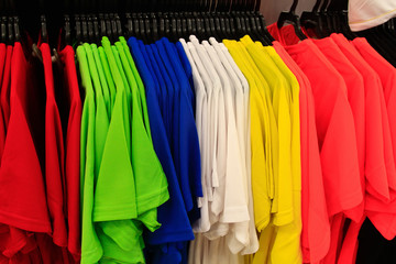 clothing shirts of different colors