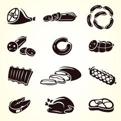 Meat food set. Vector