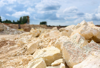 rocks in a limestone quarry close-up Wall mural