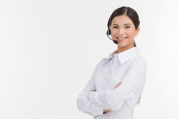 Confident customer service representative. Beautiful young femal