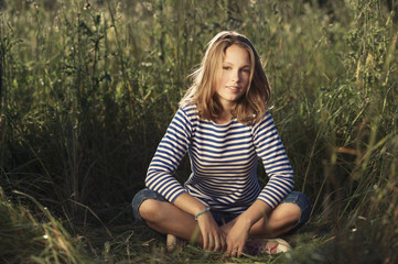young beautiful girl bright portrait