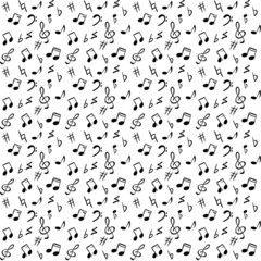 Seamless abstract pattern with music notes and elements, vector
