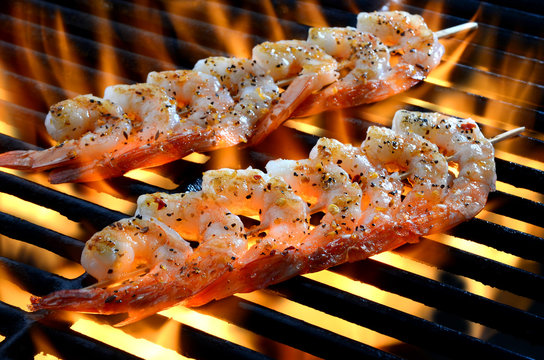 Skewered Shrimp on Grill Over Open Flame