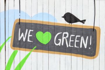 Green Silhouette eines Vogels