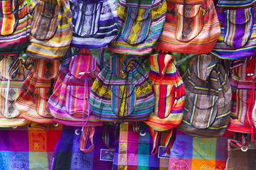 Traditional colorful bags from Mexico