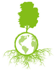 Tree with roots and planet background ecology vector concept
