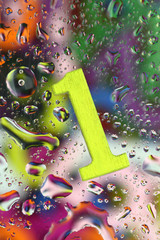 Number one on abstract colorful drops background