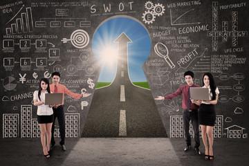 Business team present marketing road success concept