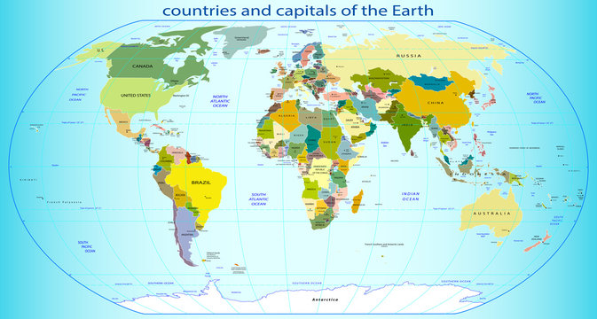 countries and capitals of the Earth. Vector illustration