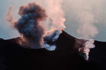 Canvas Prints Volcano Smoking erupting volcano on Stromboli island, Sicily