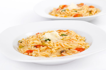 Tomato and basil orzo