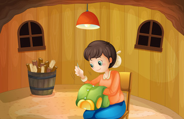 A woman sewing inside a wooden house