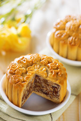 Sweet assorted fruits nuts mooncakes