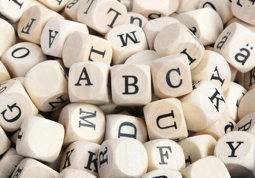 """Wood letter blocks with focus on """"ABC"""""""