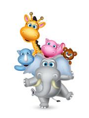 cute animals cartoon playing