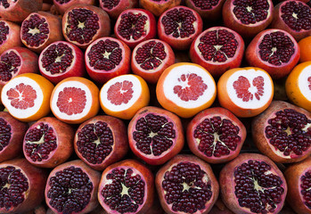 fresh pomegranate, grapefruit
