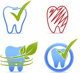 Tooth symbol collection. Hand drawn.
