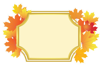 frame with bright autumn leaves - vector