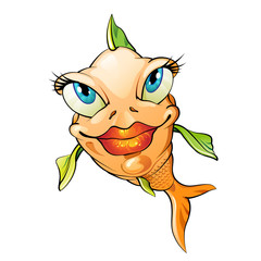 Cartoon fish smiling over white background
