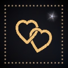 3d graphic of a playful two hearts symbol glittering golden
