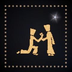 Illustration of a glowing man symbol glittering golden