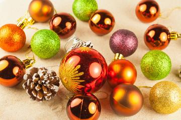 Boules De Noel Sur Sable Buy This Stock Photo And Explore Similar